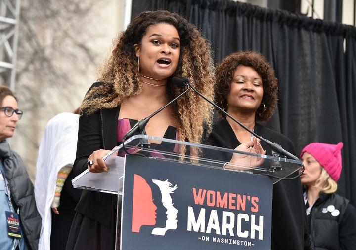 Raquel Willis speaks onstage at the Women's March on Washington on Jan. 21, 2017.