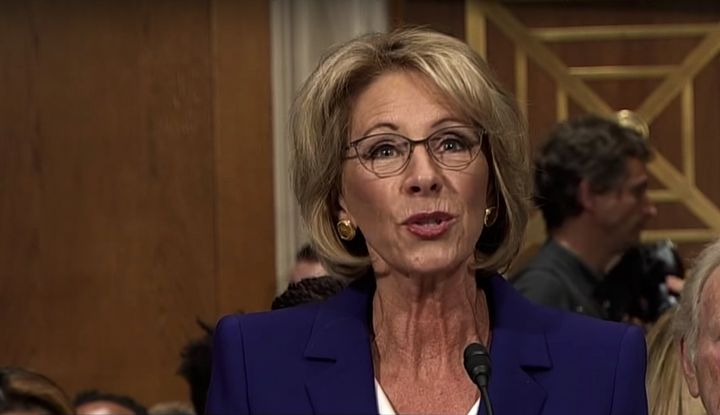 Betsy DeVos at her Senate confirmation hearing.