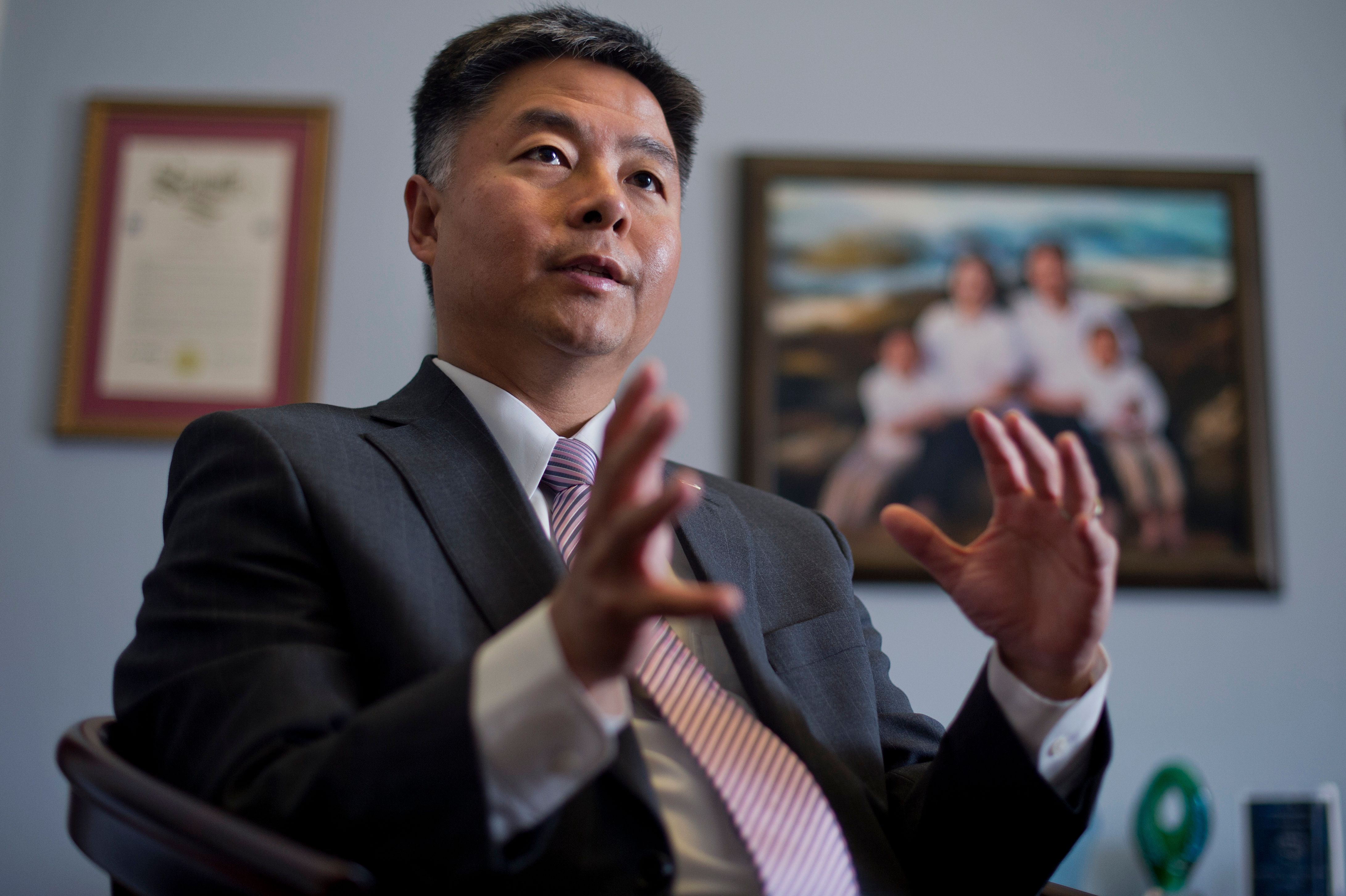 UNITED STATES - FEBRUARY 26: Rep. Ted Lieu, D-Calif., is interviewed by CQ Roll Call in his Cannon Building office, February 26, 2015. (Photo By Tom Williams/CQ Roll Call)