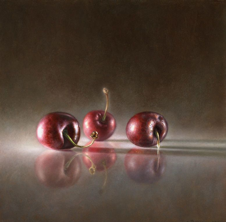 "Transitory Reflections: Cherries | Oil on panel - 8"" x 8'"