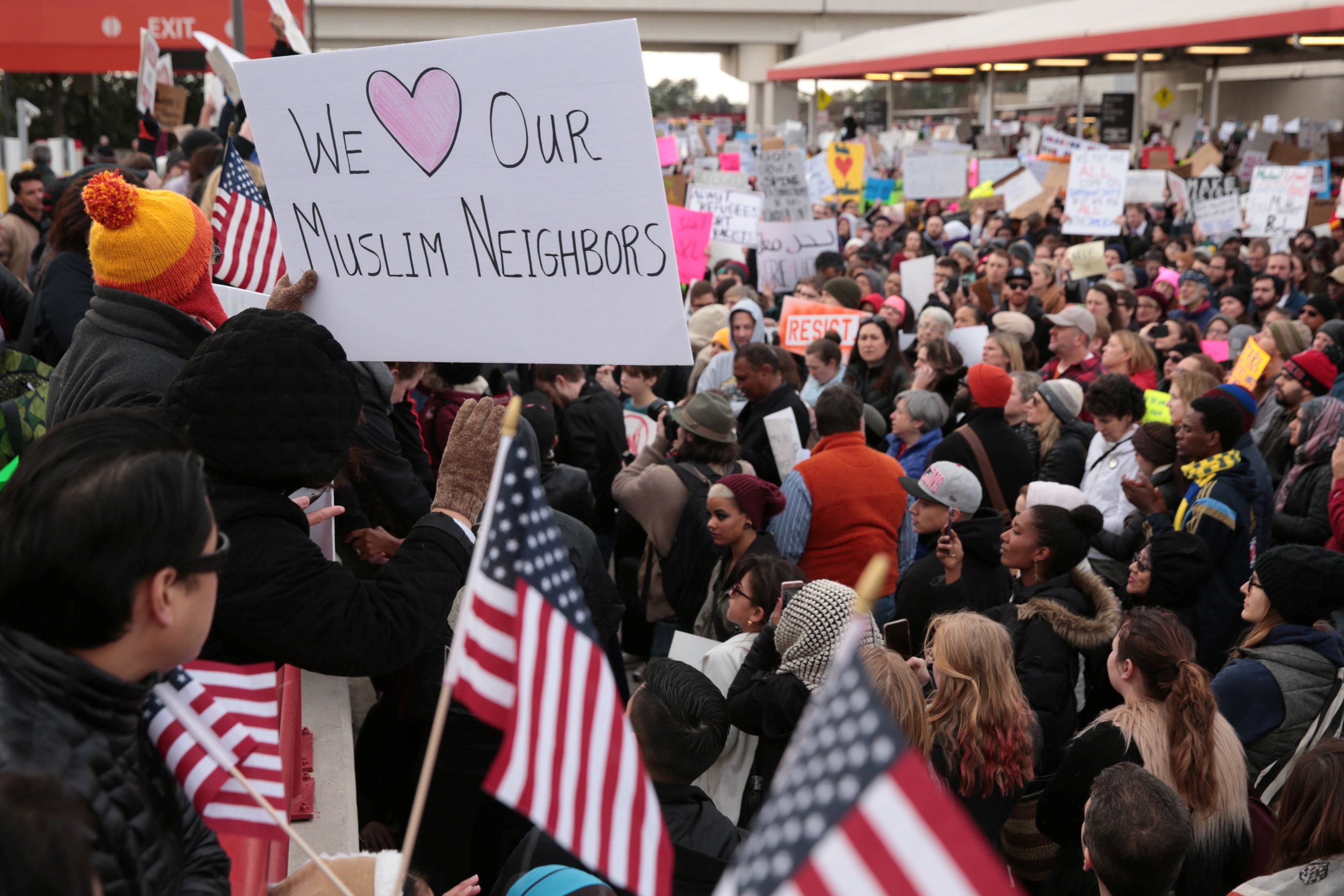 Thousands of people attend an anti-Donald Trump travel ban protest outside Hatfield-Jackson Atlanta International Airport in