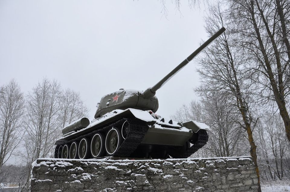 The Tank T-34 memorial on the bank of the Narva River commemorates the breakthrough of Soviet forces...