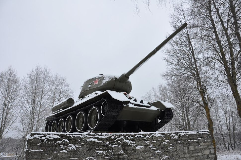 The Tank T-34 memorial on the bank of the Narva River commemorates the breakthrough of Soviet forces in World War II. Jan. 15