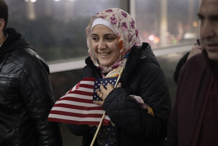 Baraa Hajj Khalaf leaves O'Hare airport with her family. They had initially expected to arrive in Chicago on Jan. 27.