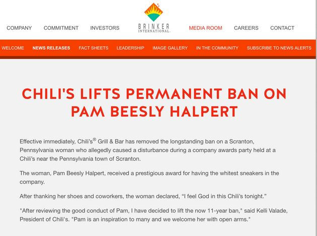 Chili's formally lifts ban on 'The Office' character Pam Beesly