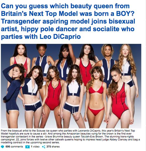 Daily Mail Criticised By Trans Activists For Treating 'Britain's Next Top Model' As A 'Freak