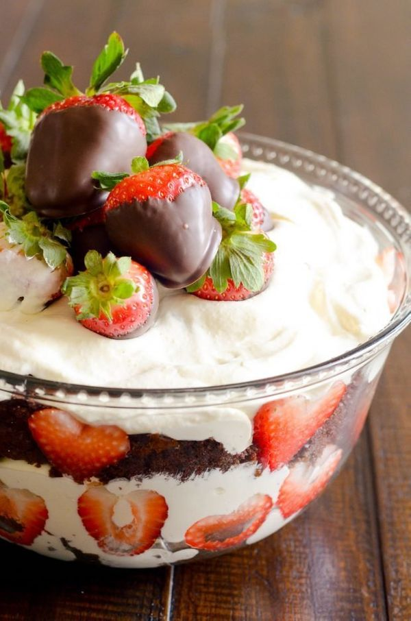 "<strong>Get the <a href=""http://www.somethingswanky.com/chocolate-covered-strawberry-trifle/"" target=""_blank"">Chocolate-Cover"