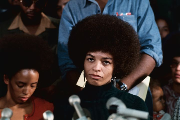 Angela Davis speaks at a press conference after being released on bailafter her 1970 arrest.