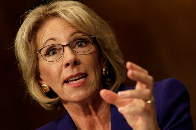 Betsy DeVos testifies before the Senate Health, Education and Labor Committee confirmation hearing to...
