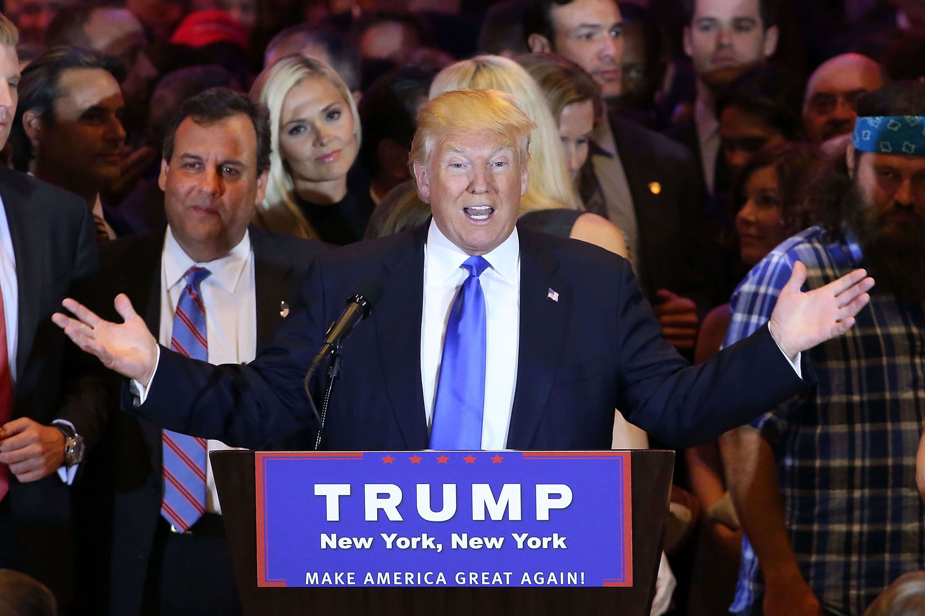 President Donald Trump speaks to supporters and the media with New Jersey Governor Chris Christie on April 26, 2016.