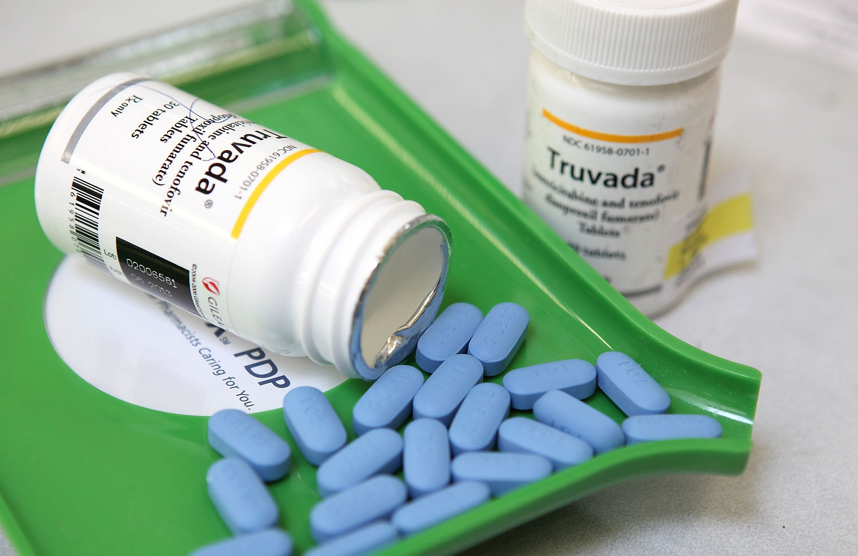 SAN ANSELMO, CA - NOVEMBER 23:  Bottles of antiretroviral drug Truvada are displayed at Jack's Pharmacy on November 23, 2010 in San Anselmo, California. A study published by the New England Journal of Medicine showed that men who took the daily antiretroviral pill Truvada significantly reduced their risk of contracting HIV. (Photo Illustration by Justin Sullivan/Getty Images)