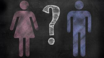 chalkboard sign in illustrative chalkboard style Female and male symbols with a question mark