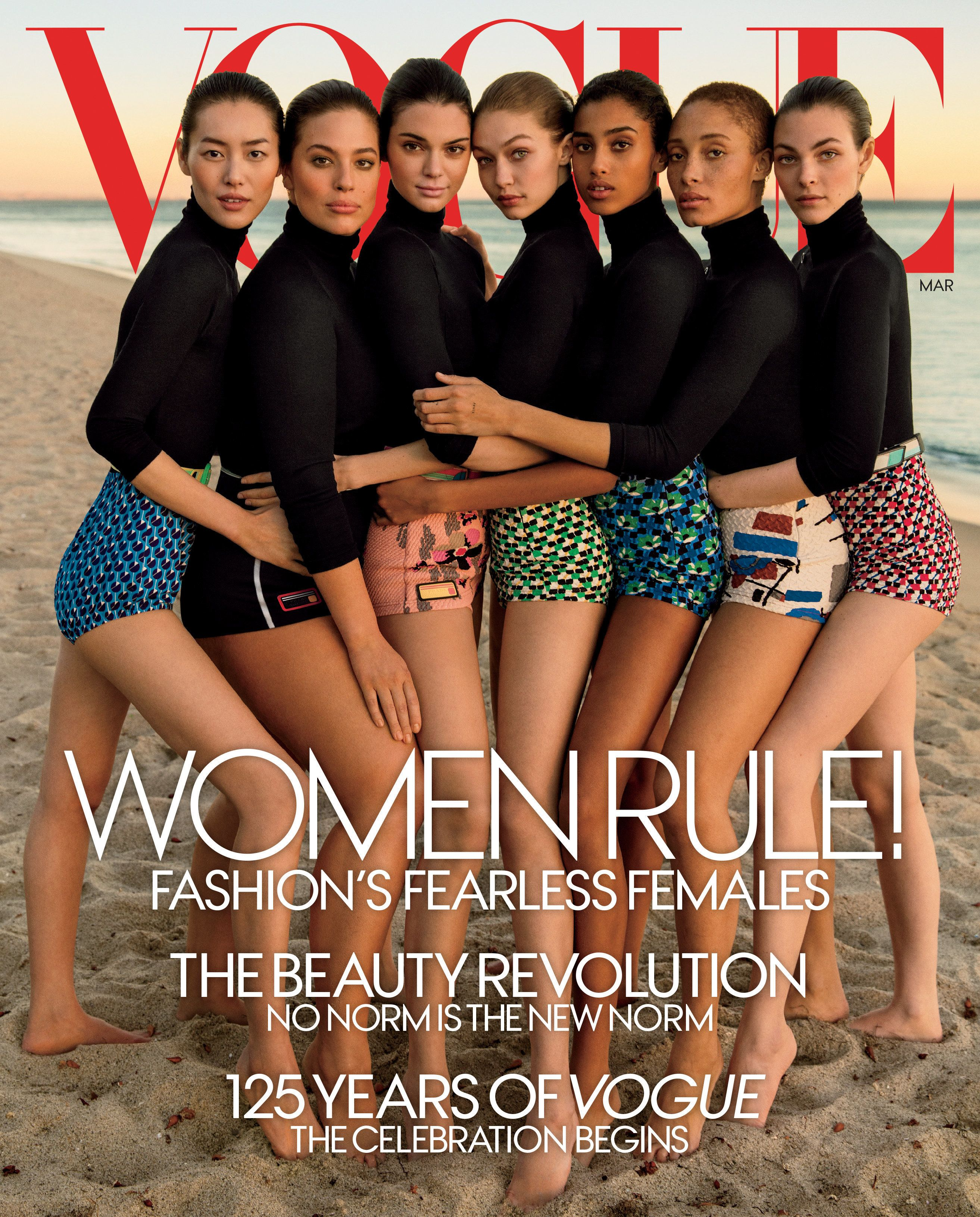 L to R: Liu Wen, Ashley Graham, Kendall Jenner, Gigi Hadid, Imaan Hammam,Adwoa Aboah, Vittoria Ceretti