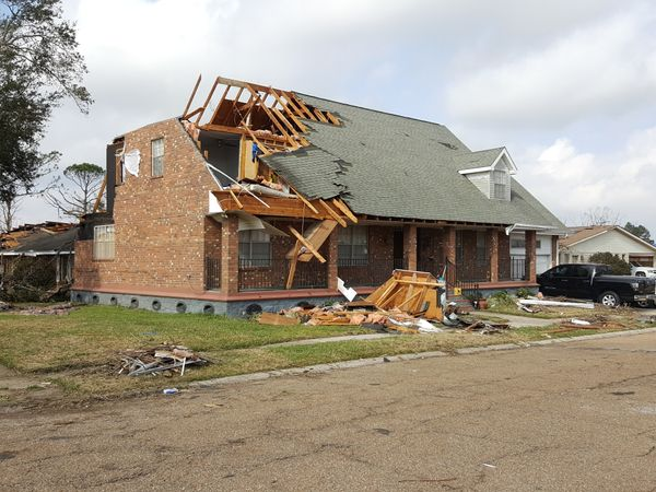 Tornado damage is seen in New Orleans on Wednesday.