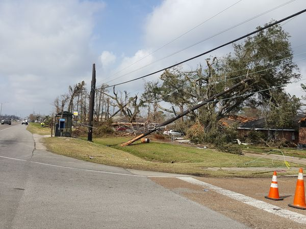 Atornado toppled trees and devastated nearby buildings in east New Orleans.