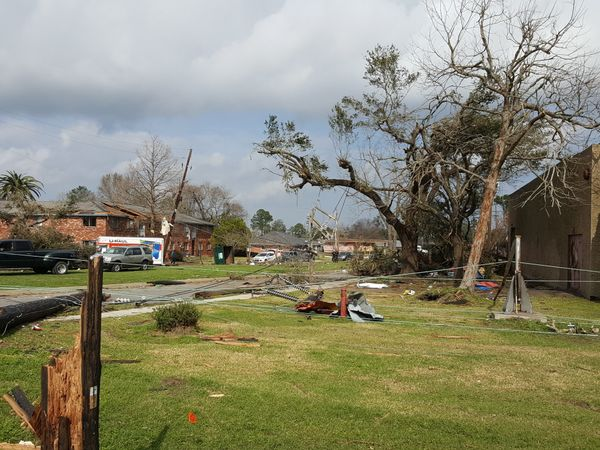 Tornado damage near Chef MenteurAvenue.