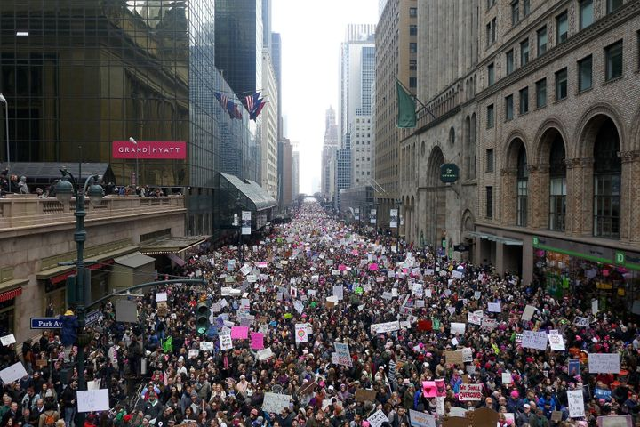 Protesters in New York City march in solidarity with the Women's March On Washington demonstration on Jan. 21, 2017. Trump's