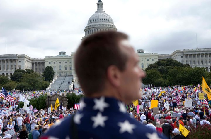 Thousands of protesters gathered on Capitol Hill for the Tea Party Express rally on Sept. 12, 2009 in Washington, D
