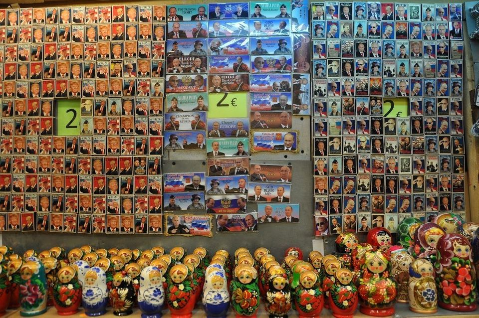 Magnets and matryoshka dolls featuring Trump and Putin in a souvenir shop in Tallinn, Estonia. Jan.