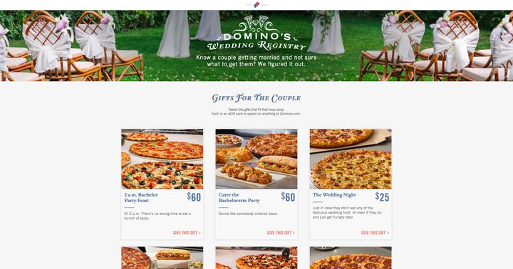 Pizzas for the bachelor party or perhaps a late-night snack in the wedding suite?
