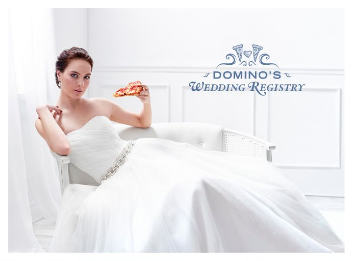 Only the classiest brides eat Domino's.