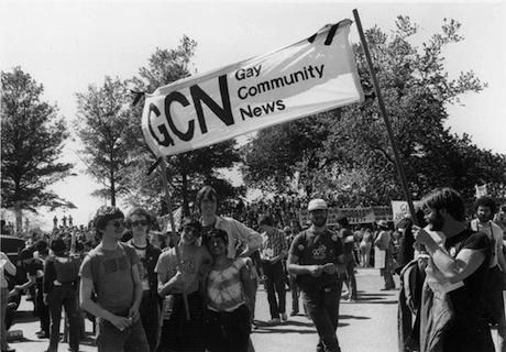 Gay Community News at a 1981 demo against US intervention in El Salvador. Urvashi Vaid third from right.