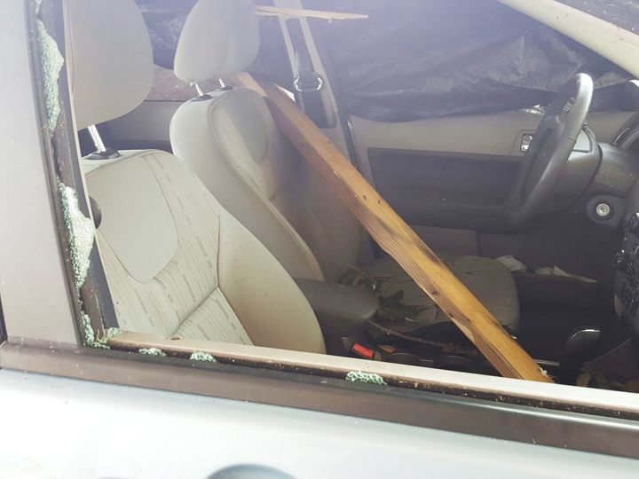 The piece of wood inside the car that hit Sharon Walter's mother in the head.
