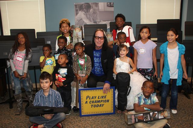 From the South Bend Center for the Homeless, where Todd Rundgren handed out ukuleles to the kids.