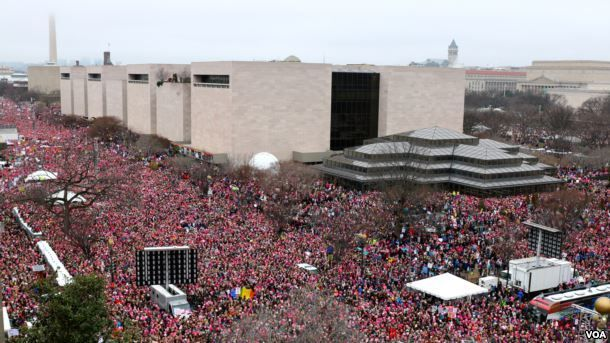 "Aerial view of the Women's March on Washington, where Gloria Steinem told hundreds of thousands of protesters, ""We must put o"