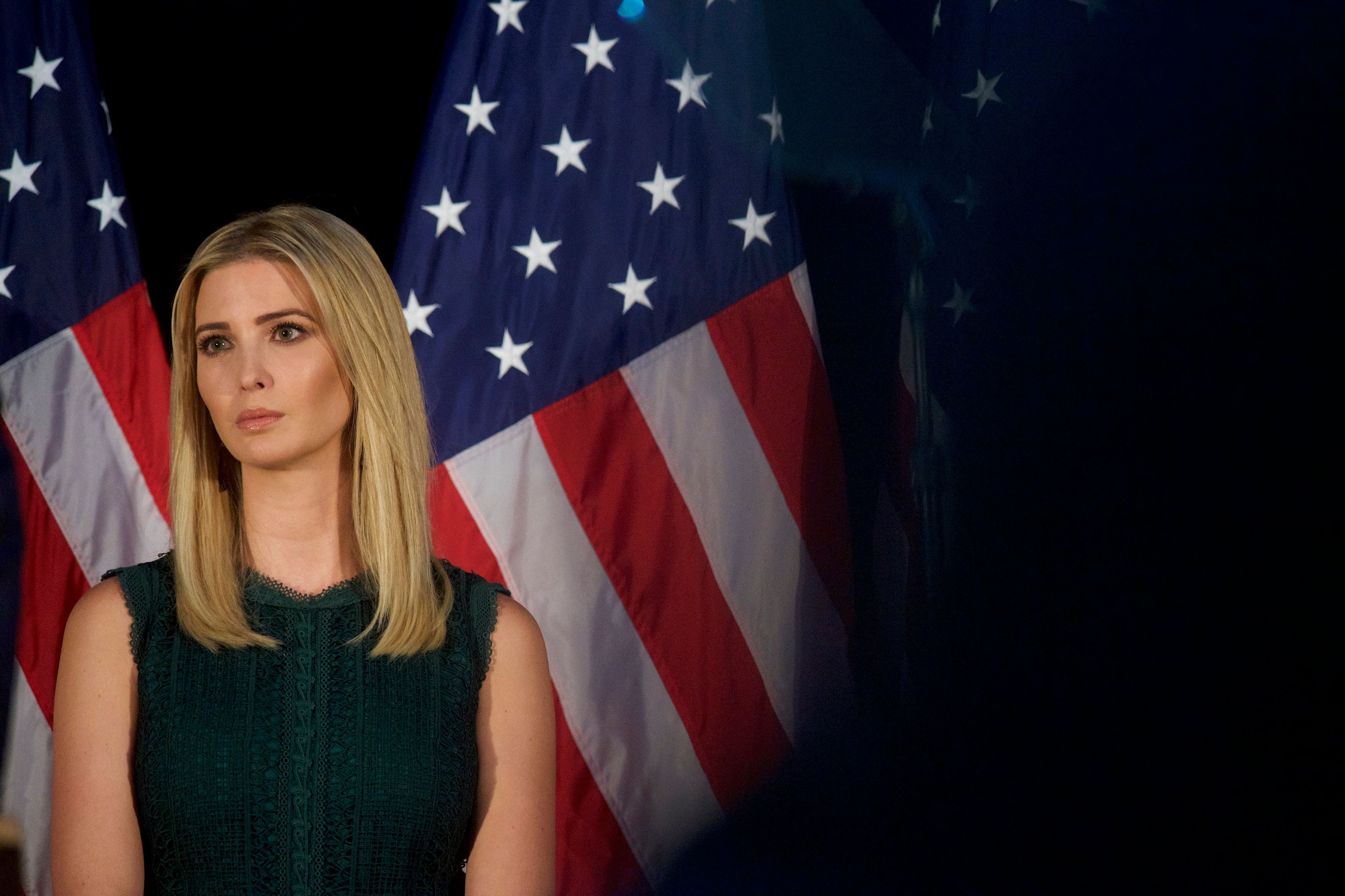 ASTON, PA - SEPTEMBER 13:  Ivanka Trump looks on as her father, Republican presidential hopeful Donald J. Trump, speaks during a campaign event at the Aston Township Community Center on September 13, 2016 in Aston, Pennsylvania.  Recent national polls show the presidential race is tightening with two months until the election. (Photo by Mark Makela/Getty Images)