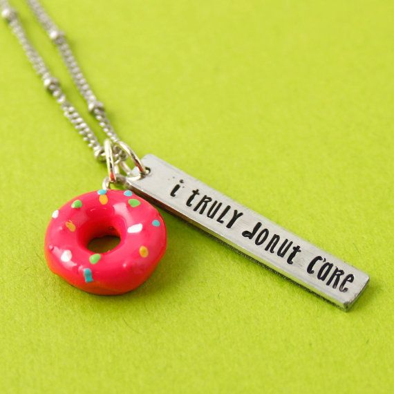 "<i>Buy it <a href=""https://www.etsy.com/listing/495544707/donut-necklace-i-donut-care-pun-jewelry"" target=""_blank"">here</a>&n"