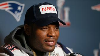 HOUSTON, TX - FEBRUARY 01:  Martellus Bennett #88 of the New England Patriots answers questions during Super Bowl LI media availability at the J.W. Marriott on February 1, 2017 in Houston, Texas.  (Photo by Bob Levey/Getty Images)