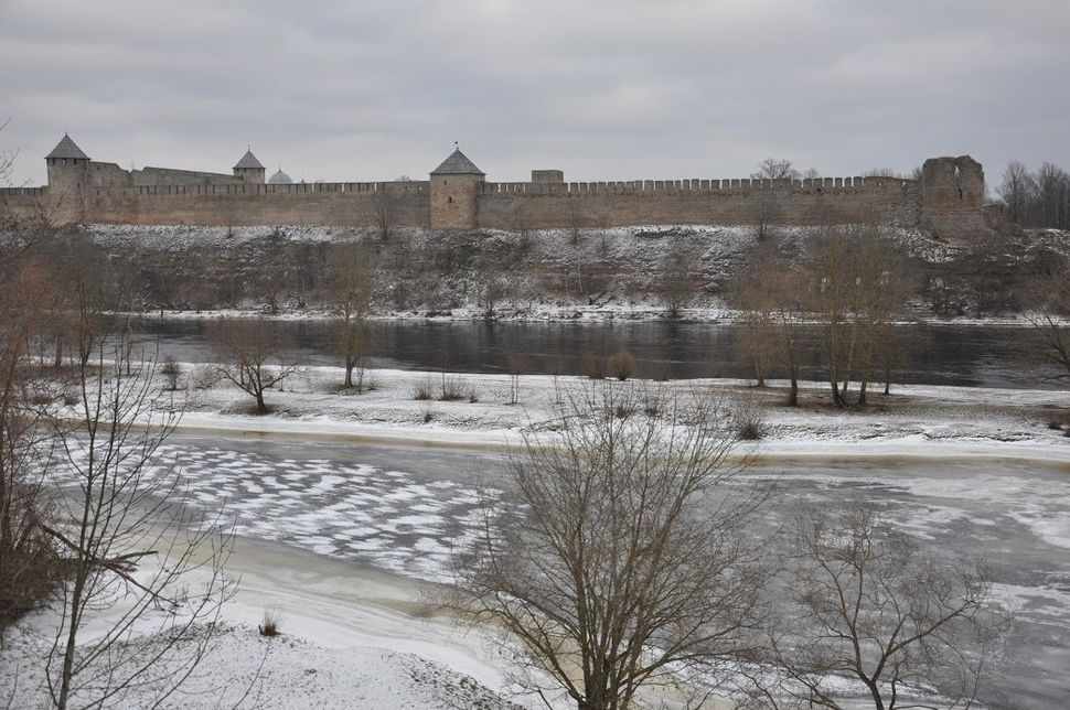 Ivangorod Fortress in Russia seen from the Estonian bank of the Narva River. Jan. 12.