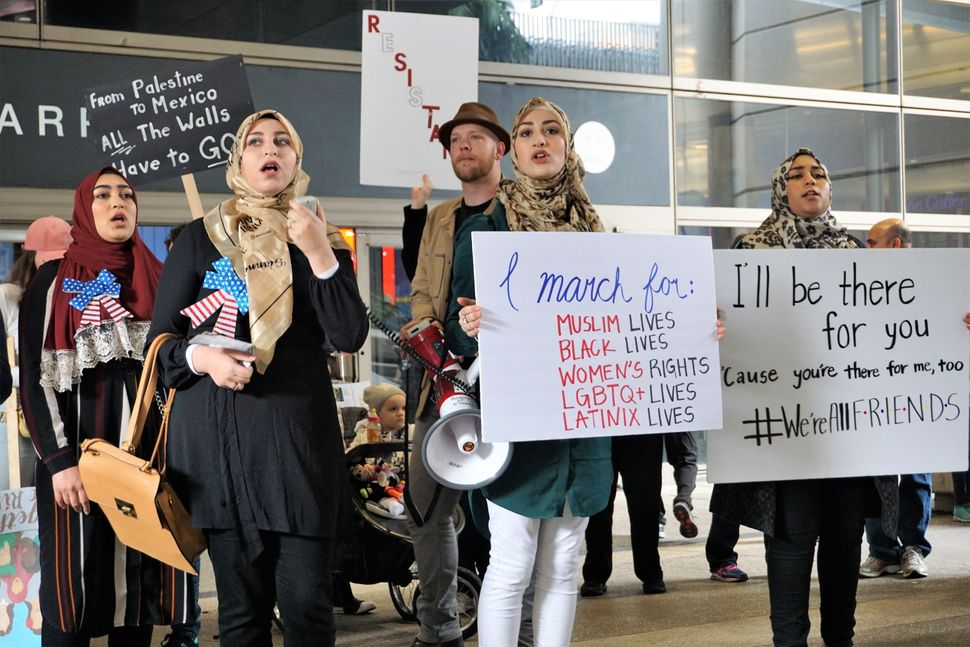 Demonstrators against President Donald Trump's Muslim Ban come together at Los Angeles International Airport, in Los Angeles,