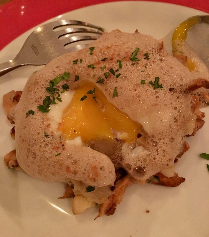 <p>That egg, oozing</p>