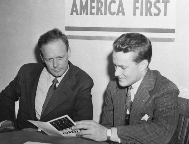 Aviator and America First Committee spokesman Charles Lindbergh, left, warned in 1941 that Jewish...