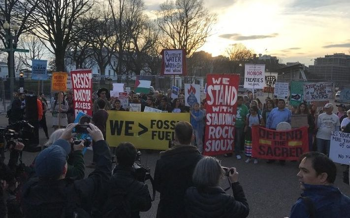 Demonstrators opposed to the Dakota Access Pipeline gathered outside the White House on Wednesday evening.