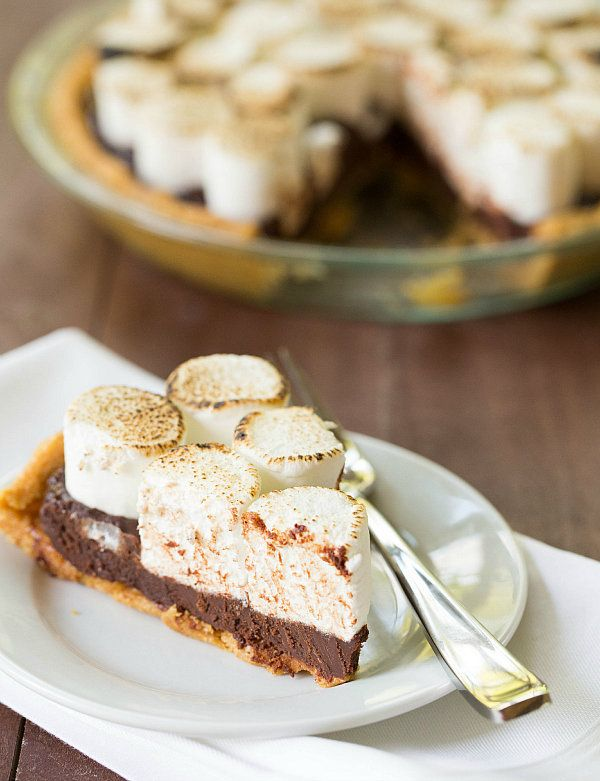 "<strong>Get the <a href=""http://www.browneyedbaker.com/no-bake-smores-pie-recipe/"" target=""_blank"">No-Bake S'mores Pie recipe"