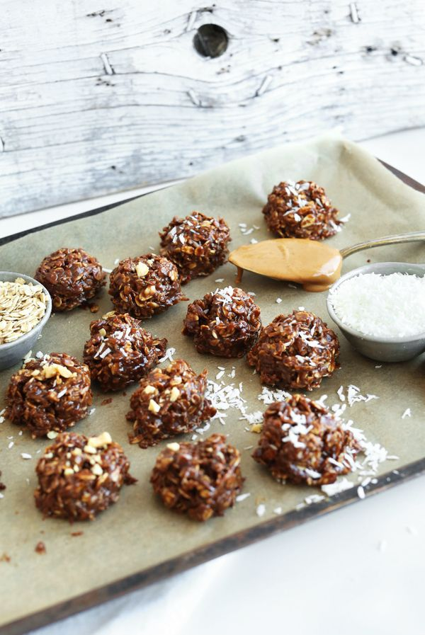 """<strong>Get the <a href=""""http://minimalistbaker.com/coconut-no-bake-cookies/"""" target=""""_blank"""">Coconut No-Bake Cookies recipe<"""