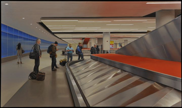 <em>John F Kennedy International Airport, </em>16 x 27 inches, oil on panel, 2015