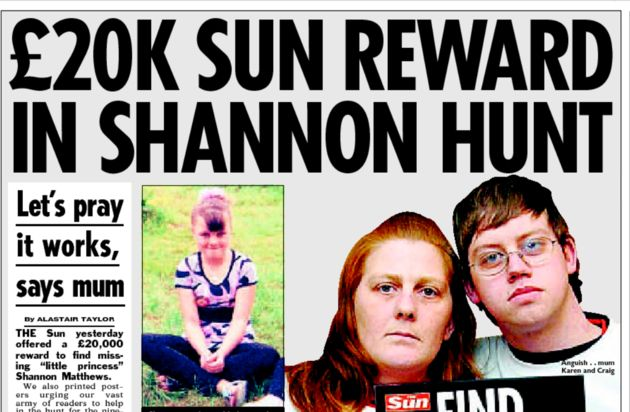 The Sun offered a £20,000 reward for information leading to Shannon Matthew's safe return...