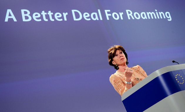 European Competition Commissioner Neelie Kroes talks at a news conference on roaming charges at the European...