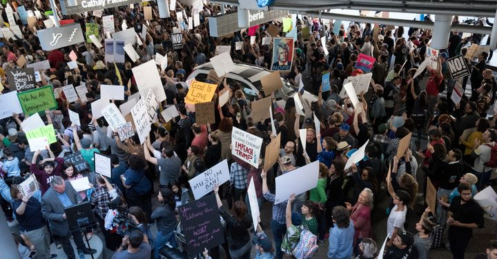 Protesters at the Los Angeles International Airport rally against Trumps executive order to ban entry into the US to traveler