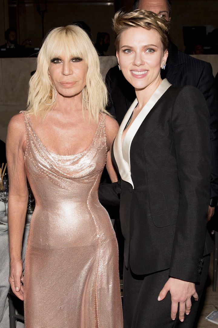 The actress posing with Donatella Versace.
