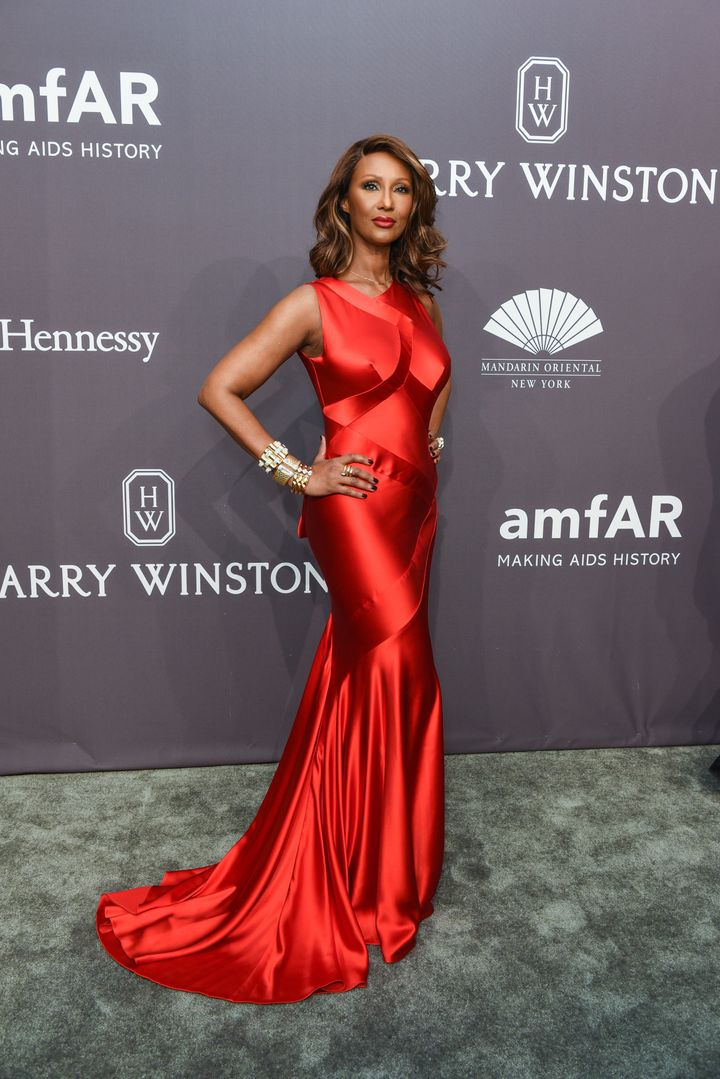 Iman looked incredible in red at the gala.