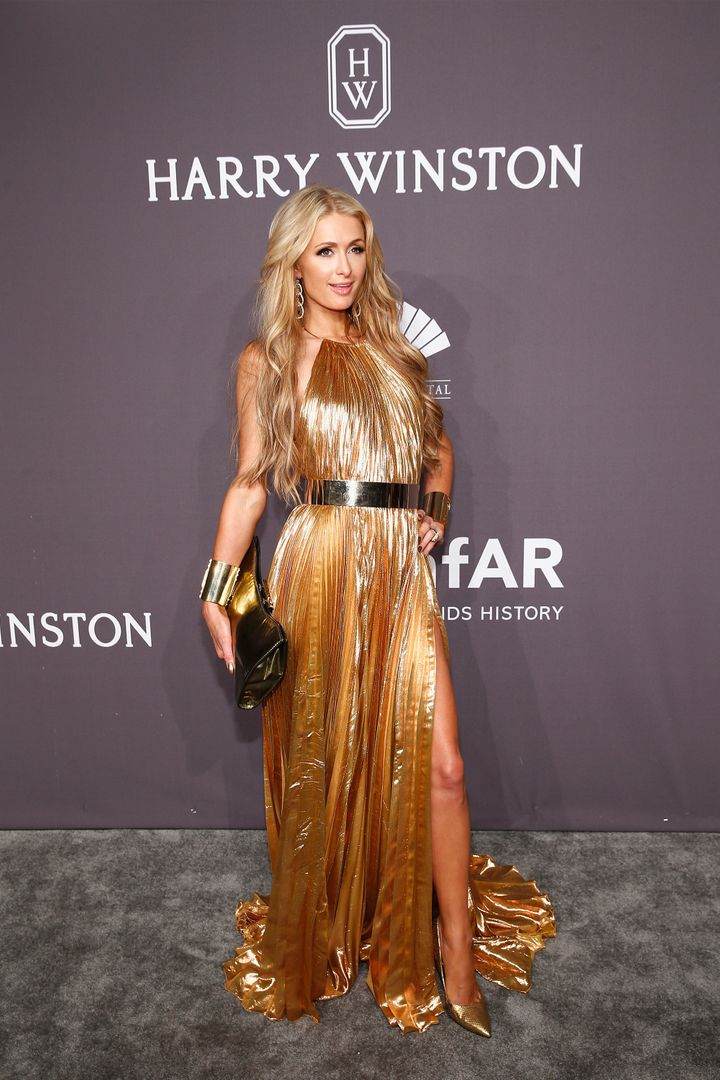 Paris Hilton in all-gold everything.