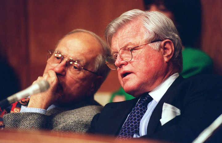 Dingell and then-Sen. Edward Kennedy (D-Mass.), seen here during a 1997 hearing on managed care reform. The two worked f