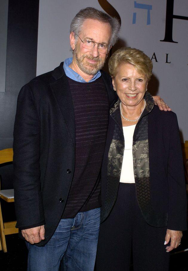 Helen Jonas-Rosenzweig with Steven Spielberg during the Schindler's List DVD