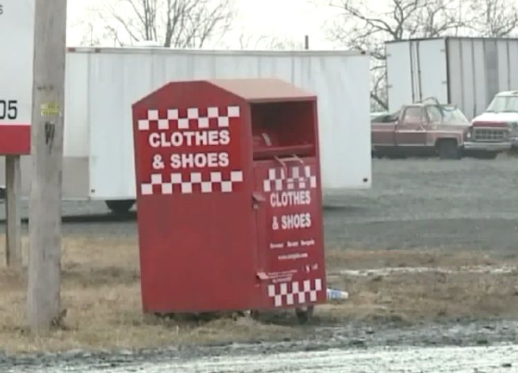 A Pennsylvania woman died after getting her arm stuck in a donation bin and was unable to free herself.