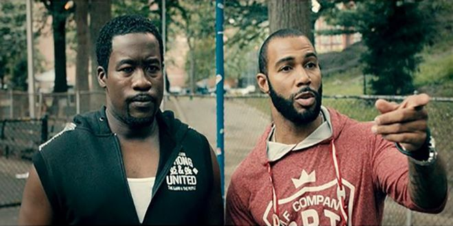 "Daniel Beaty (as Lance) and Omari Hardwick (as Jomo) in ""Chapter & Verse."""